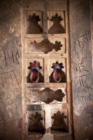 Shoes in the Wall by Gautam Vir Prashad, Image Photography, Giclee Print on Hahnemuhle Paper, Brown color