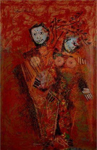 untitled by A P S Easter Raj, Expressionism Painting, Oil on Canvas, Brown color