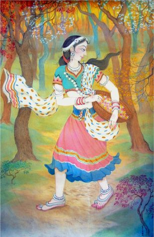 untitled by Chitra Arya, Decorative Painting, Watercolor on Paper, Beige color