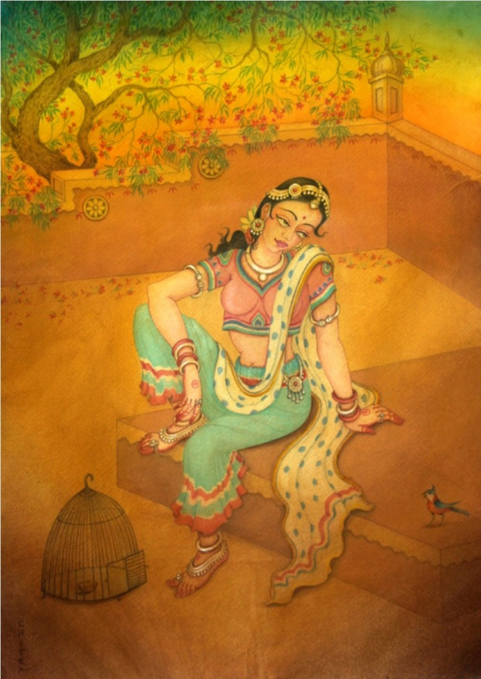 untitled by Chitra Arya, Traditional Painting, Watercolor on Paper, Brown color