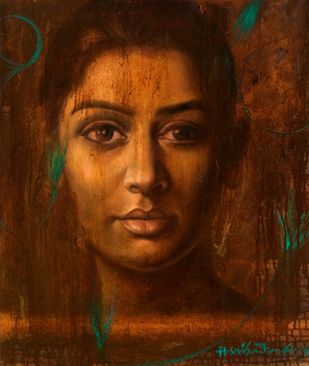 Dream Catcher by Harisadhan Dey, Expressionism Painting, Oil on Canvas, Brown color