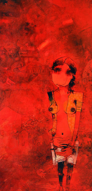 untitled by Mukesh Salvi, Abstract Painting, Acrylic on Canvas, Red color