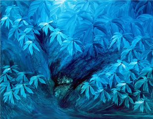 Inner escape -1 by R.S Shakya, Decorative Painting, Oil on Canvas, Blue color