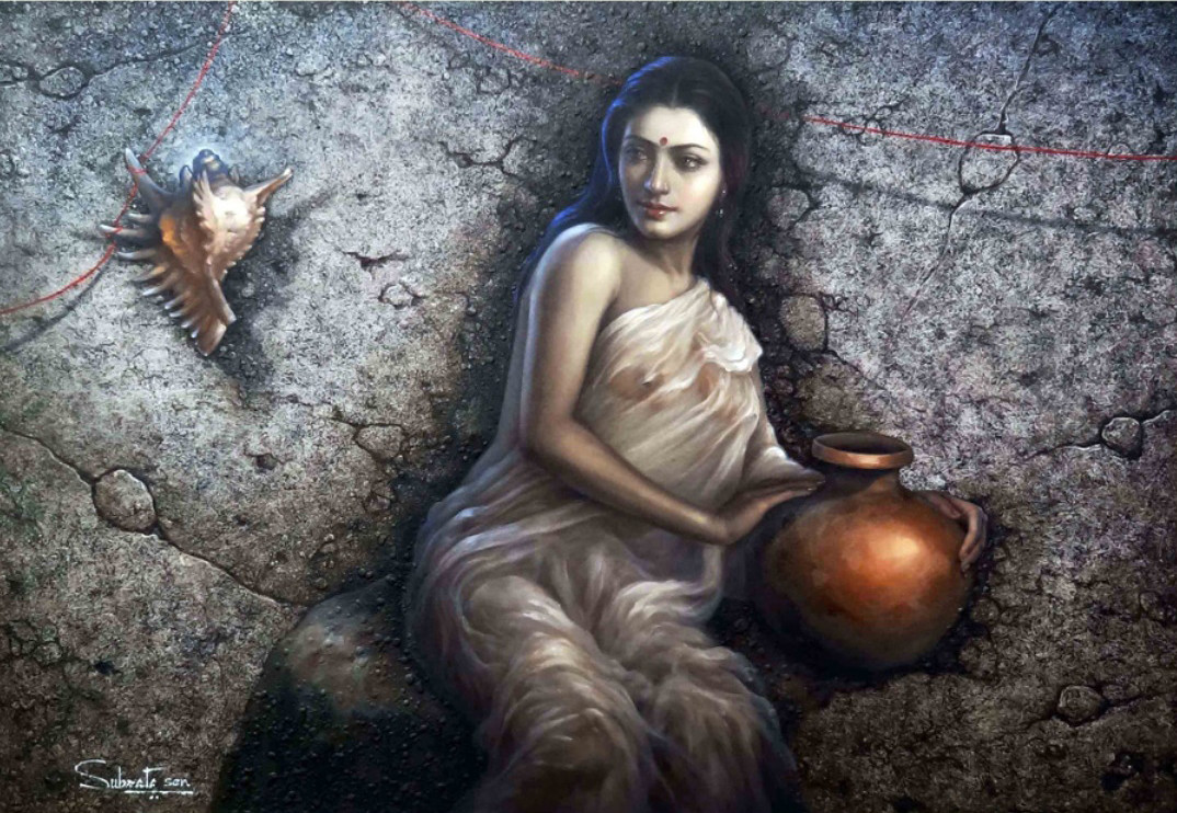 untitled by Subrata Sen, Realism Painting, Oil on Canvas, Gray color