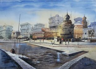 temple by Siddhanath Tingare, Impressionism Painting, Watercolor on Paper, Gray color