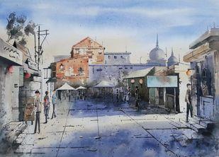 goodmorning by Siddhanath Tingare, Impressionism Painting, Watercolor on Paper, Gray color