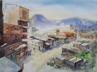Untitled by Siddhanath Tingare, Impressionism Painting, Watercolor on Paper, Brown color