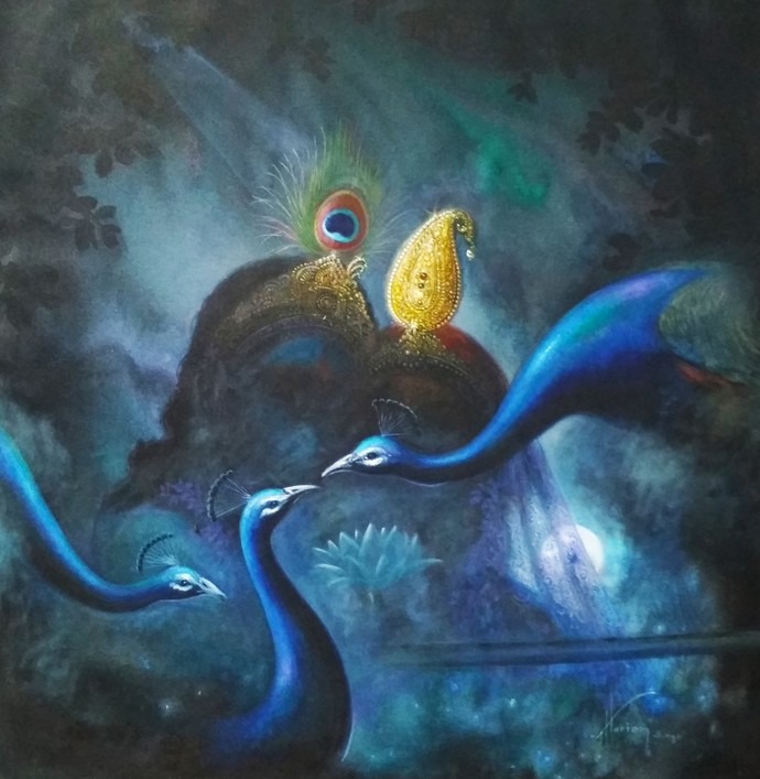 The Eve of Sharad Poornima by Hitesh Hariom, Decorative Painting, Oil on Canvas, Blue color