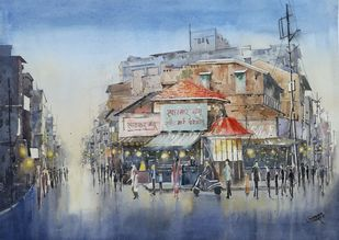 Beautiful evening at Satara by Siddhanath Tingare, Impressionism Painting, Watercolor on Paper, Gray color