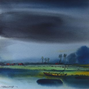 Untitled by Paresh Maity, Impressionism Painting, Watercolor on Paper, Blue color