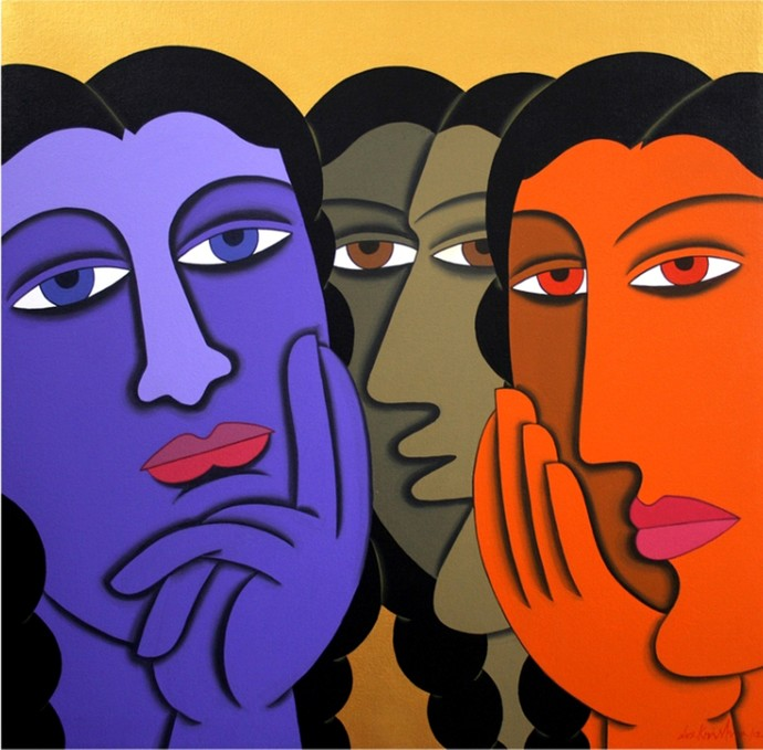 untitled by D V S Krishna, Expressionism Painting, Acrylic on Canvas, Blue color