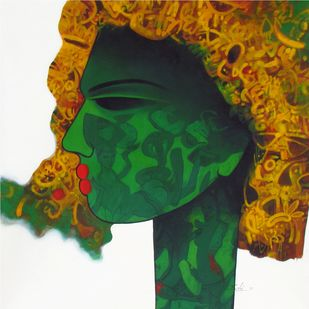 untitled by Mukesh Salvi, Pop Art Painting, Acrylic on Canvas, Green color