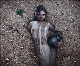 Enchantress by Subrata Sen, Expressionism Painting, Oil on Canvas, Gray color