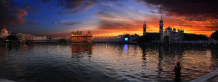 The Golden Temple by Rupinder Khullar, Image Photography, Digital Print on Paper, Brown color