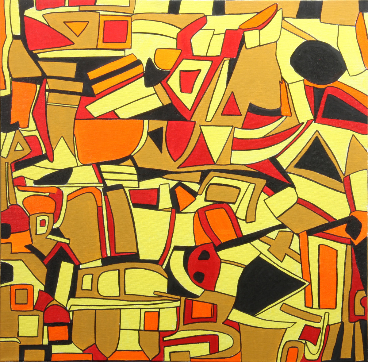 Maze by Shruti Vij, Geometrical Painting, Acrylic on Canvas, Brown color