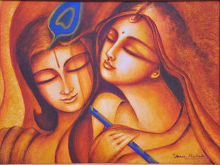 Advaitham 1 by Uma Makala, Traditional Painting, Acrylic on Canvas, Brown color