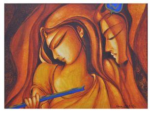 Advaitham 3 by Uma Makala, Decorative Painting, Acrylic on Canvas, Brown color
