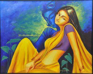 Twamevaham 2 by Uma Makala, Decorative Painting, Acrylic on Canvas, Blue color