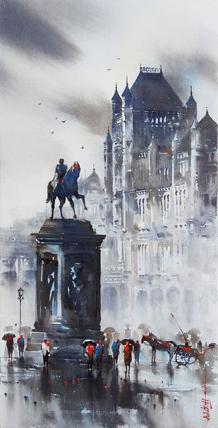 Old Mumbai by Ashif Hossain, Impressionism Painting, Acrylic on Canvas, Gray color