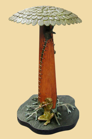 LONELY TUNE by Subrata Paul, Art Deco Sculpture | 3D, Wood & Brass, Beige color