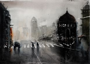 Kolkata monsoon XI by Arijit Basu , Impressionism Painting, Watercolor on Paper, Gray color