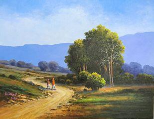 landscap by Faizad, Illustration Painting, Acrylic on Canvas, Blue color