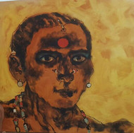 untitled by K K Makali, Expressionism Painting, Acrylic on Canvas, Brown color