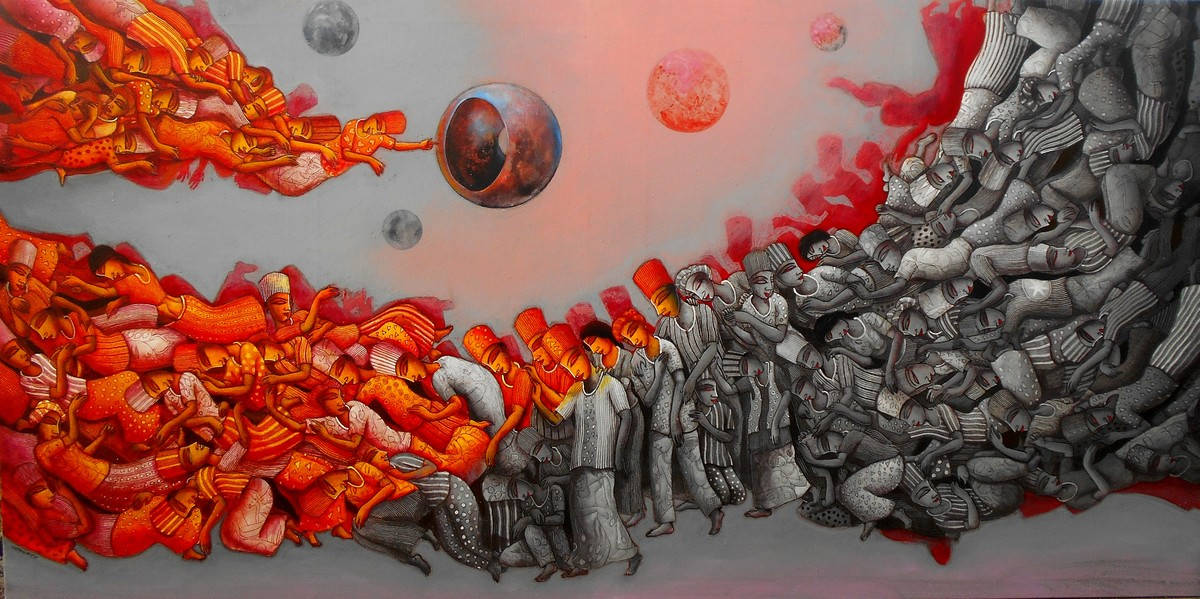 Phantom destination by Samir Sarkar, Conceptual Painting, Acrylic on Canvas, Brown color