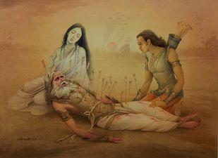 BHISHMA GANGA & ARJUNA by Rajib Gain, Traditional Painting, Watercolor Wash on Paper, Brown color