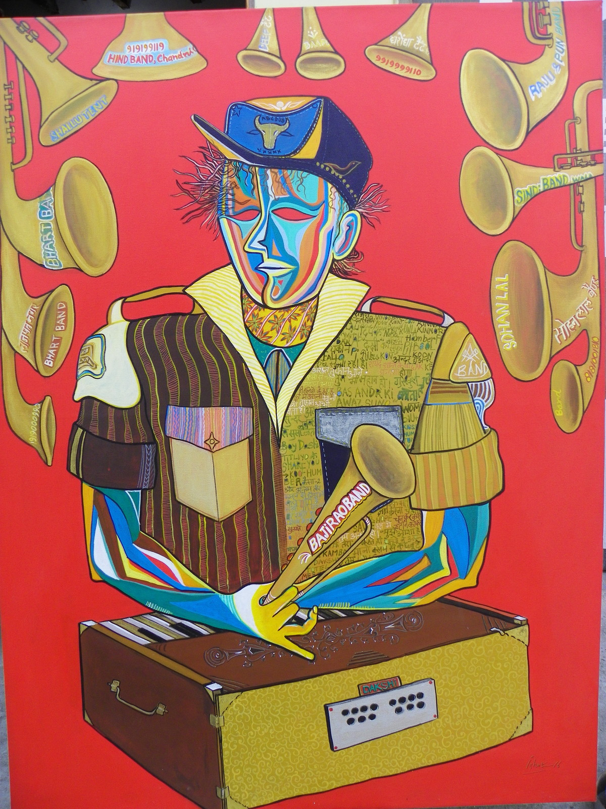 band wale by Izhar Alam, Expressionism Painting, Acrylic on Canvas, Brown color