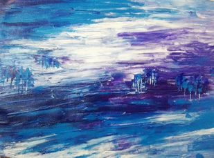 Purpe Haze by Broti Ganguly, Abstract Painting, Acrylic on Canvas, Blue color