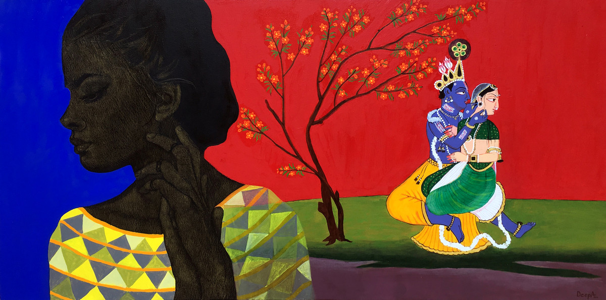 Manisha- A Loveful Mind by Deepali S, Expressionism Painting, Oil & Acrylic on Canvas, Red color