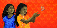 Sakhi- Live in freedom by Deepali S, Expressionism Painting, Oil & Acrylic on Canvas, Orange color