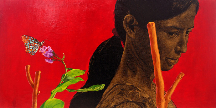 Asmita- Infiniti Thoughts by Deepali S, Expressionism Painting, Oil & Acrylic on Canvas, Red color
