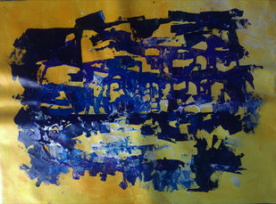 Marina by Broti Ganguly, Abstract Painting, Acrylic on Canvas, Blue color