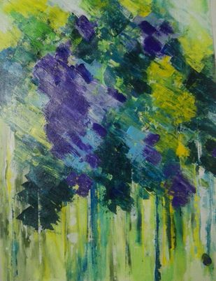 Spring Break by Broti Ganguly, Abstract Painting, Acrylic on Canvas, Green color