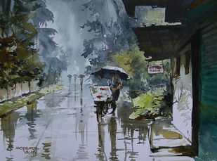 Monsoon Days 2 by Mopasang Valath, Impressionism Painting, Watercolor on Paper, Green color
