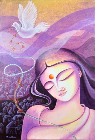 Muktha by Uma Makala, Expressionism Painting, Acrylic on Canvas, Pink color