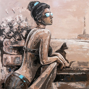 Another Day by gurdish pannu, Expressionism Painting, Acrylic on Canvas, Brown color
