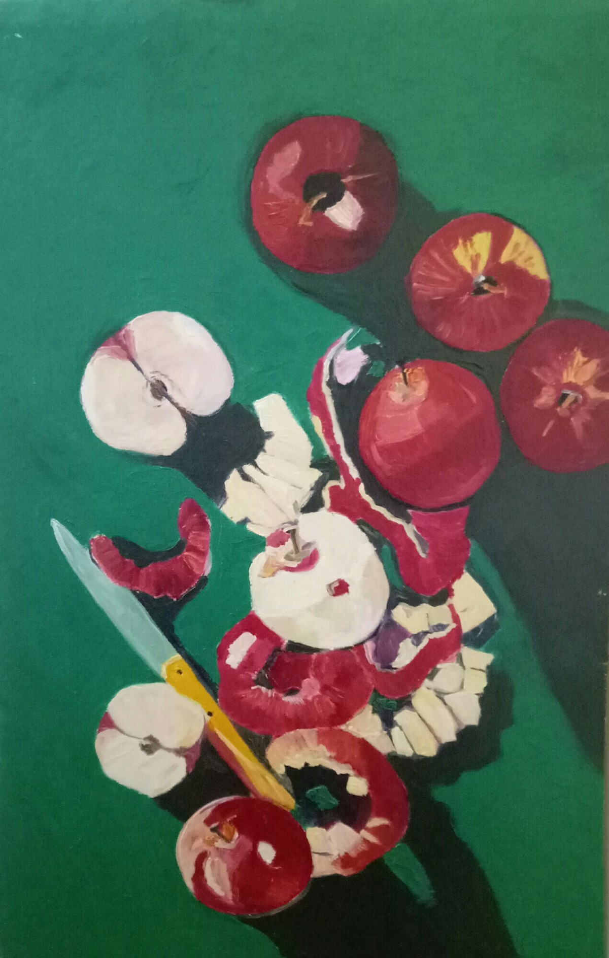 Apples and apple peels by Rupinder kaur, Expressionism Painting, Oil on Canvas, Green color