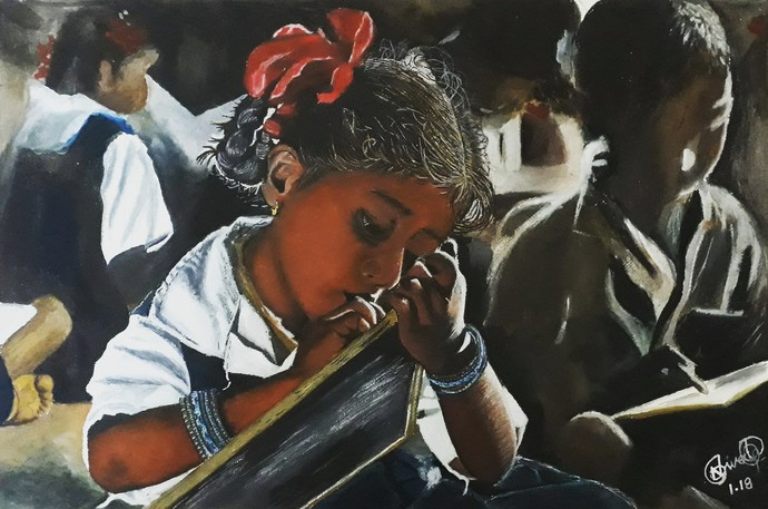 Learning by Niveda Pradeep, Realism Painting, Watercolor on Paper, Gray color