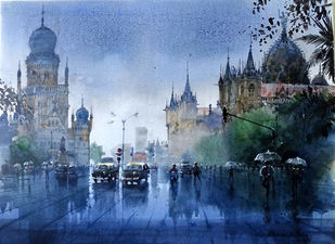 MUMBAI SHOWER by Bhuwan Silhare, Impressionism Painting, Acrylic on Canvas, Blue color