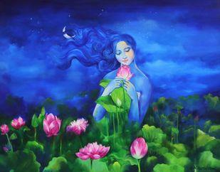 Blueness - I by Shambhu Nath Goswami, Expressionism Painting, Acrylic on Canvas, Blue color