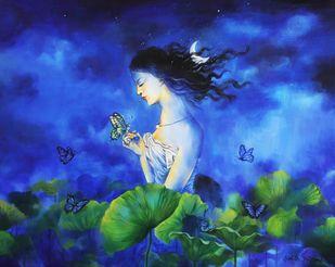Blueness - II by Shambhu Nath Goswami, Expressionism Painting, Acrylic on Canvas, Blue color