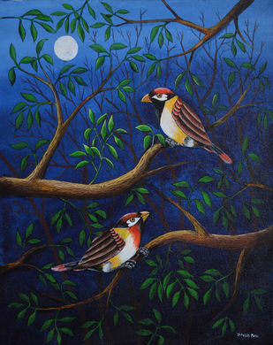 Birds Painting 103 by santosh patil, Abstract Painting, Acrylic on Canvas, Blue color