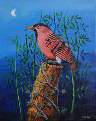 Birds Painting 106 by santosh patil, Impressionism Painting, Acrylic on Canvas, Blue color
