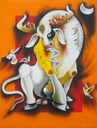Bull with birds by Uttam Manna, Expressionism Painting, Acrylic on Canvas, Brown color