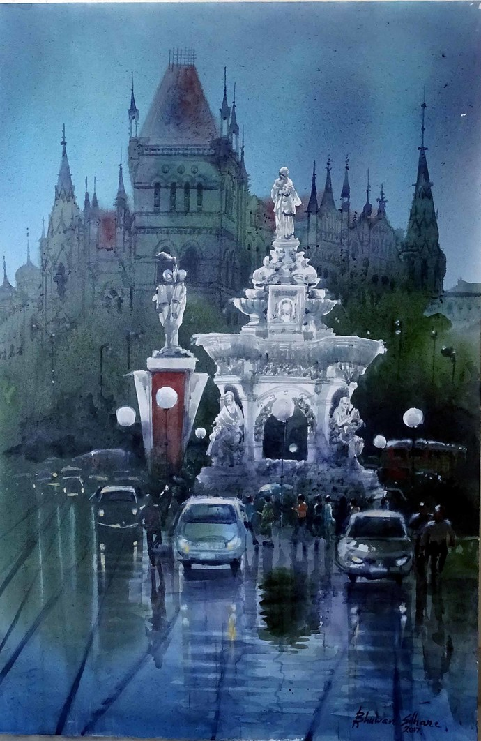 MUMBAI AFTER RAIN-II by Bhuwan Silhare, Impressionism Painting, Acrylic on Canvas, Blue color