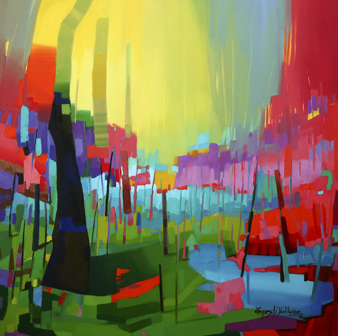 petrichor_33 by Ganesh Doddamani, Abstract Painting, Oil on Canvas, Green color