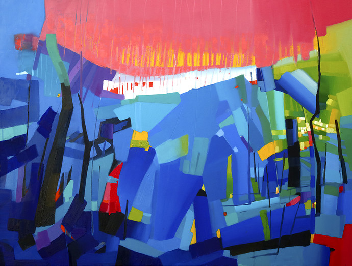 petrichor_34 by Ganesh Doddamani, Abstract Painting, Oil on Canvas, Blue color